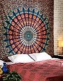 RAJRANG Mandala Wandbehang Indisch Baumwolle Tapestry Boho Deko Wandteppich Wall Hanging Hippie Wandtuch