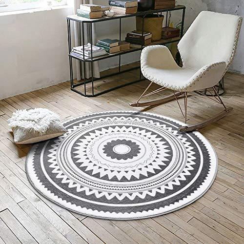MU Home Wohnzimmer Türrahmen Nachttisch Teppich-Grau Weiche Hochflor Teppich rund Wohnzimmer Geometrisch Modern Lässig 100X100 runder cm Teppich Leicht zu reinigen Flecken- / Lichtbeständig/Rutschf -