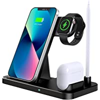 Wireless Charger, 4 in 1 Induktive ladestation Kompatibel mit Apple Watch 7/6/SE/5/4/3, AirPods pro/2/1, Kabelloses…