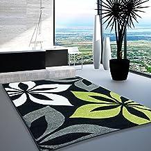 Alfombra con diseño de reloj de moda con certificado Oeko-Tex de colour negro y pantalla de colour crema de la flor de colour gris y de colour verde de diferentes tamaños, verde, 80 x 150 cm