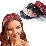 Bohend Moda Donne Fascia per capelli Largo Pelle annodata Cerchio per capelli Puro Turbante Accessori per capelli per Donne e