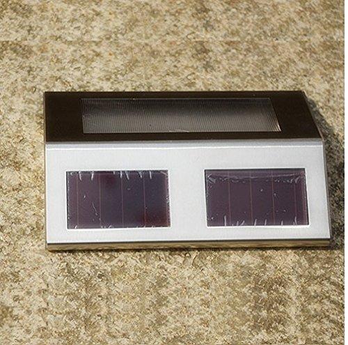 Preisvergleich Produktbild JHK 2LED Edelstahl Solar- Treppenlicht Solar-Gartenleuchten Wand Zaun Licht warm weiss