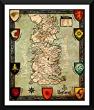 Seven Kingdoms Of Westeros Map - Small Size Premium Quality Ready to hang Framed Digital Art Poster (12x17 inches) For Home And Office Interior Decoration by Tallenge