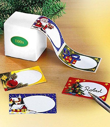 Weihnachtsetiketten 100 Stück mit Dispenser