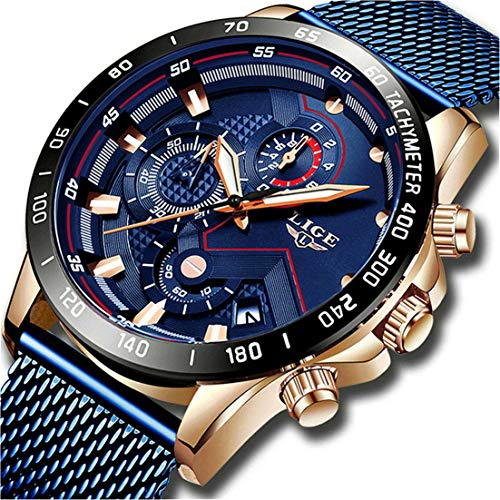 LIGE Reloj Hombre Impermeable Deporte Cronógrafo Fecha Malla Acero Inoxidable Reloj de Pulsera Relojes analógicos de Negocios para Hombres