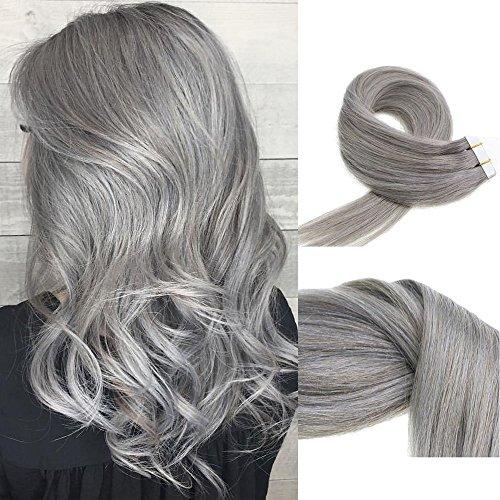Vario nastro per capelli in vera seta extensions capelli umani dritto di estensioni di trama 100% capelli umani (1618202261cm 30-70g/20pcs # grigio argento & # grigio scuro)