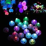 Dsaren LED Ballons Lichter, 30 Stück Runde Party Licht Superbright Mini Papierlaterne Licht für Weihnachten Geburtstag Hochzeit Party Dekoration (Bunt)