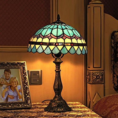 12 pollici di stile blu dell'annata pastorale Mediterraneo piuma di vetro macchiato di stile di Tiffany lampada da tavolo da letto lampada da comodino Lampada