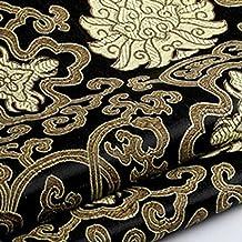 Tela china Youmu de satén Brocade, bordado de flor por hoja bordada, 1 meter