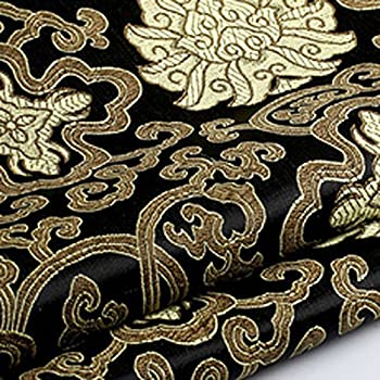 Stoff Polyester Jacquard Ornament blau gold Lurex