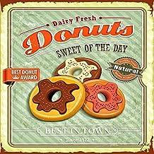 quadro su tela vintage 40x40 cm donuts