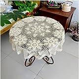 Hand Crochet Spitzentischdecke - Ezeso Handgefertigt Häkel Tischdecke Deko Rund Hohl Floral Tischdecke Beige Baumwolle Spitze Deckchen Tischdecke 120cm/37.3 Zoll