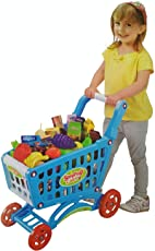 Big Shopping Cart with Many Accessories - Fruits, Vegetable, Grocery Items - Best Pretend Play Toy for Kids (Blue)