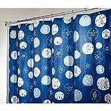 InterDesign Sand Dollar Duschvorhang aus Stoff | wasserdichter Duschvorhang | waschbarer Textil Duschvorhang in der Größe 183,0 cm x 183,0 cm | Polyester blau/grün