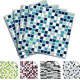 Grandora 4er Set 25,3 x 25,3 cm Fliesenaufkleber blau türkis Silber Design 1 I 3D Mosaik Aufkleber Fliesenfolie Fliesensticker Küche Bad Sticker W5291