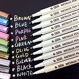 Metallic Marker Stifte, Satz von 10 Farben Metallischen Maker Pen für Fotoalbum Gästebuch Kartenherstellung, auf Oberfläche-Papier Glas Kunststoff Töpferei Stein Färbung Bücher, von WonderforU