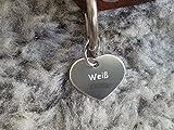 Gravuren.store 2 Stück Hunde-Katzenmarke Herz, Adressanhänger aus Aluminium, (24,5mm X 20mm S, Silber)
