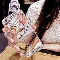HMTECH Galaxy S6 Edge Hülle Glitzer Spiegel Silikon TPU Schutzhülle Mit [Bling Glitzer Kristall Strass Diamant Überzug BärStand Holder für S6 Edge,Silver Mirror with Bear Ring Stand