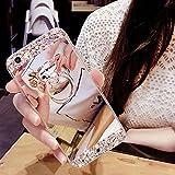HMTECH Galaxy S7 Edge Hülle Glitzer Spiegel Silikon TPU Schutzhülle Mit [Bling Glitzer Kristall Strass Diamant Überzug BärStand Holder für S7 Edge,Silver Mirror with Bear Ring Stand