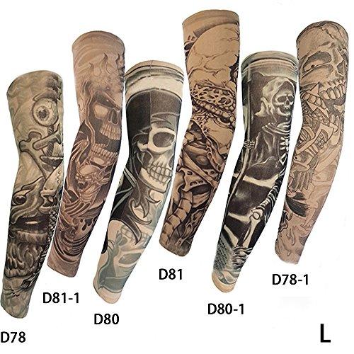 Pinkiou 6x Fake Arm Temporäre Tattoo Ärmel Outdoor Sun Schutzhülle Body Art Arm Zubehör Tattoo Ärmel (L) (Glücksspiel-zubehör)