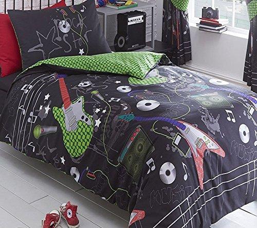 sign Gitarre Rock Bettwäscheset, Bettbezug und 2Kissenbezüge Bettwäsche Bettwäsche Set für Jugendliche, Schwarz, Double ()
