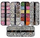 Ranvi 3000 Pezzi (5 Scatole) Nail Art Strass Kit Nail Rhinestones con 1 pezzo, borchie multicolor Nail Eye strass per decorazioni di arte del chiodo forniture
