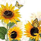 Sonnenblume Schmetterlinge geprägt 33x 33cm 33cm x 33cm 20x Papier-Servietten, 3-lagig