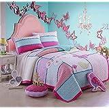 beddingleer algodón para niñas costura patchwork colchas edredones edredón, pájaros de mariposa, 2piezas