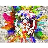 Tapisserie Photo Lion coloré 352 x 250 cm Laine papier peint Salon Chambre Bureau Couloir décoration Peinture murale décor mural moderne - 100% FABRIQUÉ EN ALLEMAGNE - 9164011b