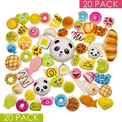 DROPPLEX 20 Stück Squishy Spielzeuge – Zufällige Auswahl – Jumbo Medium Mini – Gemischte Kawaii Squishies – Dekoration & Handy-Anhänger Schlüsselanhänger