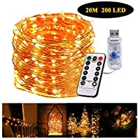 Gluckluz String Lights 200 LED Indoor Fairy Lighting USB Powered 20m Starry Copper Wire Firefly Twinkle Warm Decoration with Remote Control 8 Modes for Bedroom Outdoor Garden Party Wedding