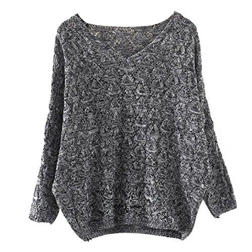 Amlaiworld Sweatshirts Winter Herbst Stricken Pulli Damen Mode locker Freizeit Sweatshirt warm Lang Pullover (One Size, A) (Erwachsenen-raglan-langarm)