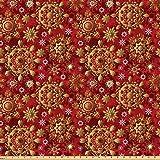 ABAKUHAUS Red Mandala Microfaser Stoff als Meterware,