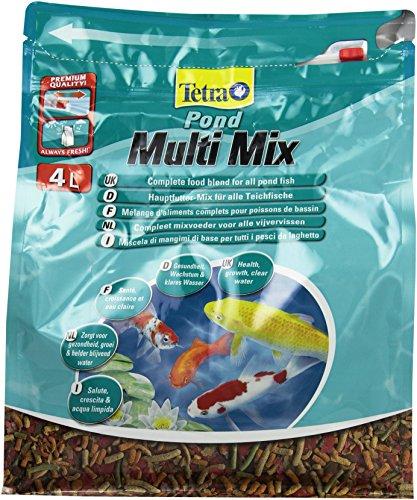 Tetra Pond Multi Mix (ausgewählte Futtermischung aus Flocken, Sticks, Wafern und Gammaruskrebsen für alle Gartenteichfische), 4 Liter Beutel