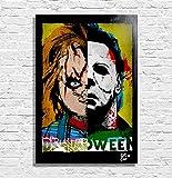 Chucky und Michael Myers - Original gerahmt Fine Art Malerei, Poster, Leinwand, Artwork, Druck, Plakat, Leinwanddruck, horror, halloween, Puppe Killer