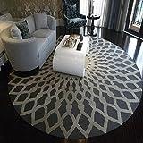 Geometrie Runde Kuhfell Teppich Schlafzimmer Nachttisch Wohnzimmer Teppich Tisch Sofa Korb Stuhl Teppich (Color : Gray, Size : 160CM)