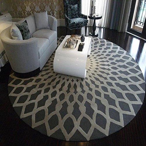 Geometrie Runde Kuhfell Teppich Schlafzimmer Nachttisch Wohnzimmer Teppich Tisch Sofa Korb Stuhl Teppich ( Color : Gray , Size : 160CM )