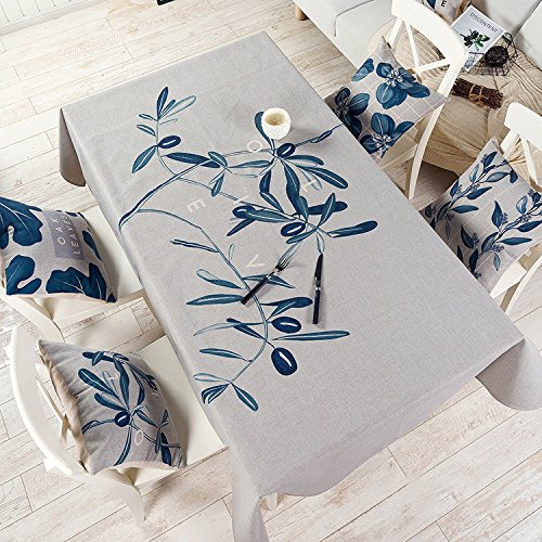BLUELSS European Style Simple Green Plant Design Coton et Lin pour Table de Salle à Manger Tables Plateau Table Cloth 001,C,140x100cm