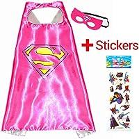 Disfraz de superhéroe para niños SuperGirl Superwoman–Capa y máscara–Juguetes para niños y niñas–Disfraz para niños de 3a 10años–para carnaval o fiestas temáticas–King Mungo KMSC009