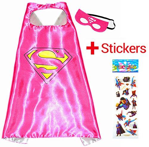 Supergirl Superwoman Superhelden-Kostüme für Kinder - Cape und Maske - Spielsachen für Jungen und Mädchen - Kostüm für Kinder von 3 bis 10 Jahre - für Fasching oder Motto-Partys - King Mungo-KMSC009