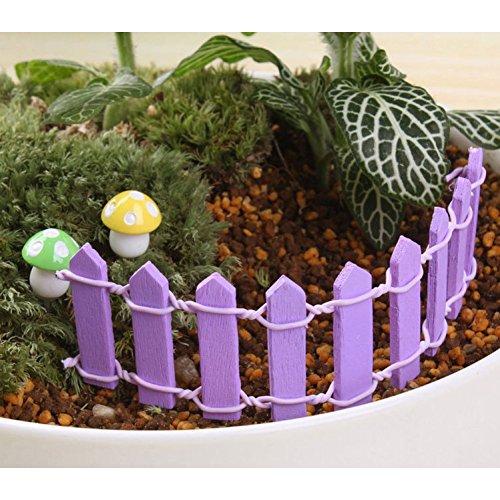 n Mini Zeichen Fee Puppenhaus Pflanze Figur Decor Garten Ornament Gräser Zaun (Lila) ()