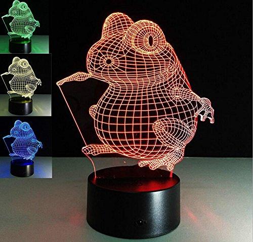 3D frosch Optische Illusions-Lampen, Tolle 7 Farbwechsel Acryl berühren Tabelle Schreibtisch-Nachtlicht mit USB-Kabel für Kinder Schlafzimmer Geburtstagsgeschenke Geschenk