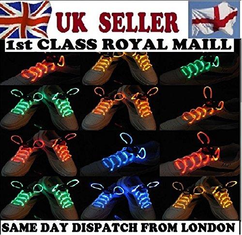 Wasserdichte LED-Schnürsenkel in verschiedenen Farben: grün, rot, gelb, orange, blau, pink, gelb/grün, blau/pink, grün/pink, mehrfarbig, hochwertig (Neo Kostüme)