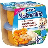 Nestlé Bébé Naturnes Les Sélections Carottes, Riz, Poulet Fermier - Plat Complet dès 6 Mois - 2 x 200g - Lot de 8
