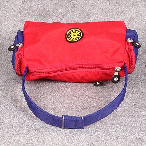 Fortuning's JDS® Singolo sacchetto di spalla borsa trendy unico di tela nera borsa a mano tote rosso