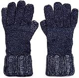 styleBREAKER warme glänzende Handschuhe mit doppeltem Bund, Winter Strickhandschuhe, Damen 09010011, Farbe:Dunkelblau meliert