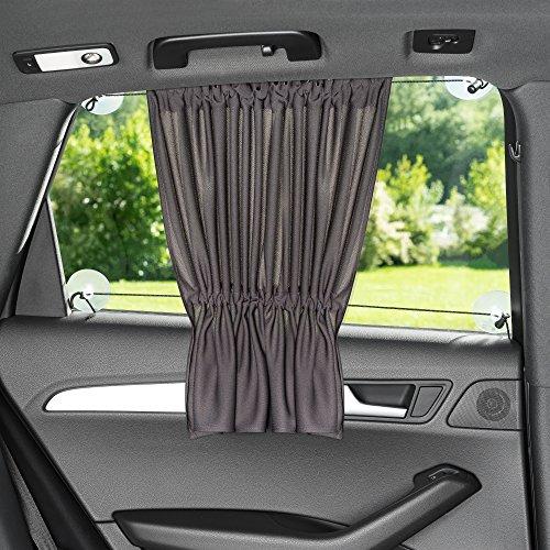 Sonnenschutz fürs Auto/Baby - mit Vorhang-Funktion für einfaches Auf- und Zuziehen - UV-Schutz Hitzeschutz & zum Abdunkeln - XXL 68 x 50 cm - auch für große Seitenscheiben - Anthrazit Schwarz