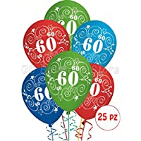 Palloncini Compleanno 60 anni addobbi e decorazioni per feste party confezione 25pz - 60 ° Compleanno Palloncini