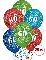 Idea Regalo - Palloncini Compleanno 60 anni addobbi e decorazioni per feste party confezione 25pz