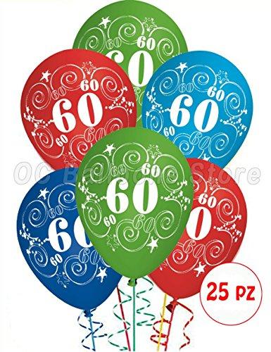 Globos de Cumpleaños para los 60 años, adorno y decoración para fiestas. Paquete de 25 unidades.